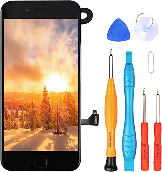 Ayake for iPhone 8 Plus Screen Replacement with Home Button, Full Assembly Retina LCD Touch Display Digitizer with Front Camera+Earpiece Speaker+Proximity Sensor+Tools for A1864, A1897, A1898 (Black)