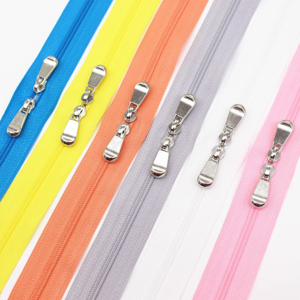 Meillia 6PCS 60 Inch #3 Double Slider Zippers Closed End Nylon Coil Zippers for Sewing, Crafts, Bags, Pillowcases, Bed Sacks, Decorating (60 6 Colors)
