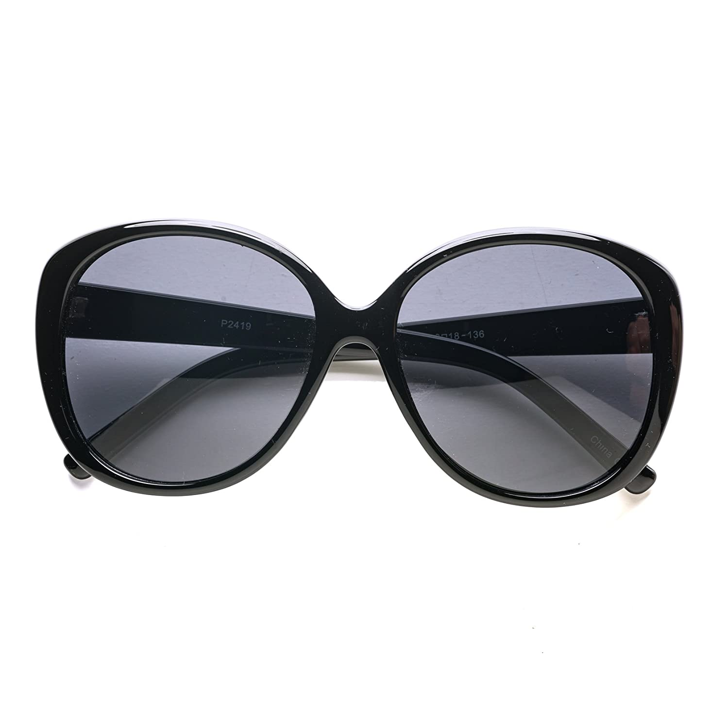 1ac8adb580 Amazon.com  Pop Fashionwear Oversized Oval Sunglasses P2419 (Bk