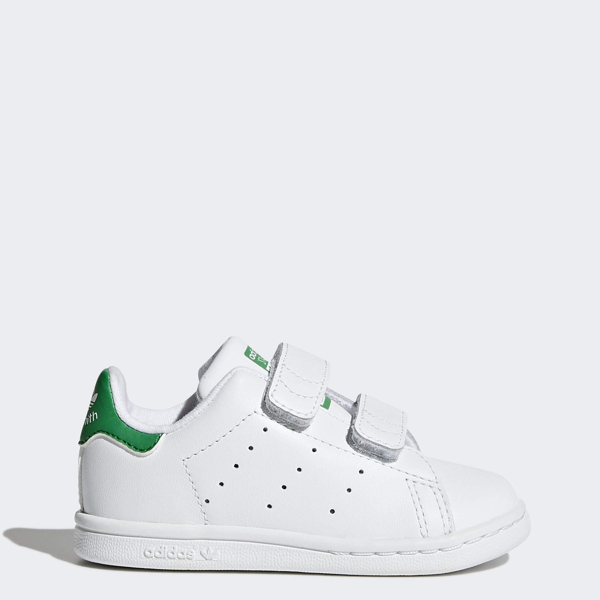 adidas Originals Baby Stan Smith Cloudfoam Sneaker, Footwear White/Footwear White/Green, 8.5 M US Toddler by adidas Originals