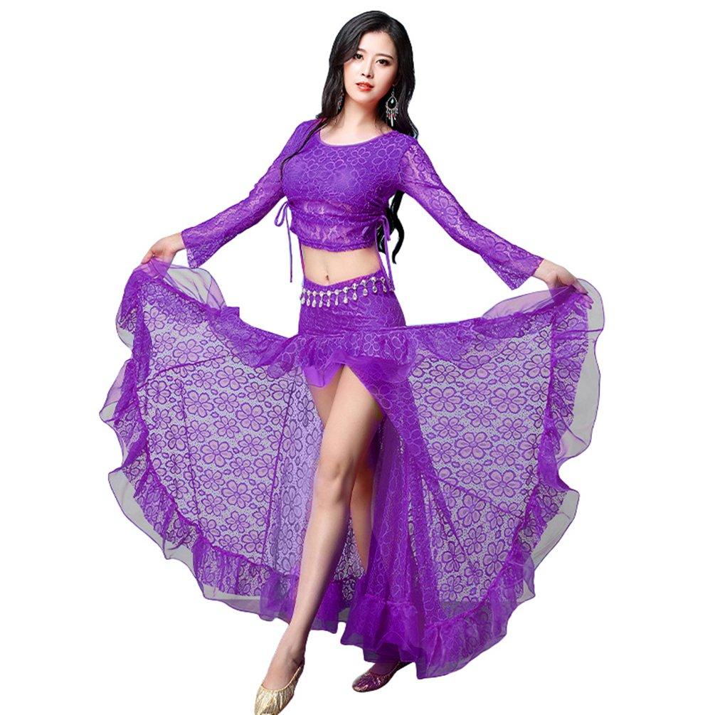 YiJee Damen Spitze Tanzkleidung Bauchtanz Kostüm Set Tops und Rock