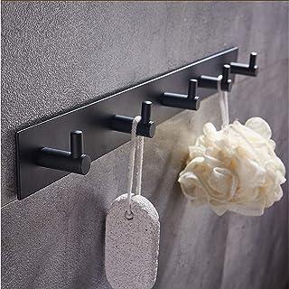 Perchero Robe Gancho Colgador Ganchos de Aluminio contemporáneo multifunción 1pc - Cuarto de baño Otras Herramientas Decoracion montado en Pared, Negro