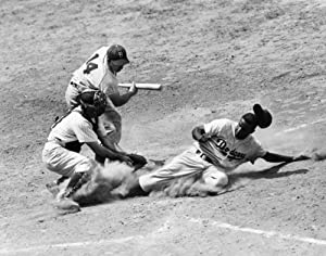Jackie Robinson (1919-1972) Njohn Roosevelt Robinson Known As Jackie American Baseball Player As A Member Of The Brooklyn Dodgers Stealing Home Under The Tag Of Catcher Andy Seminick In A Game Against
