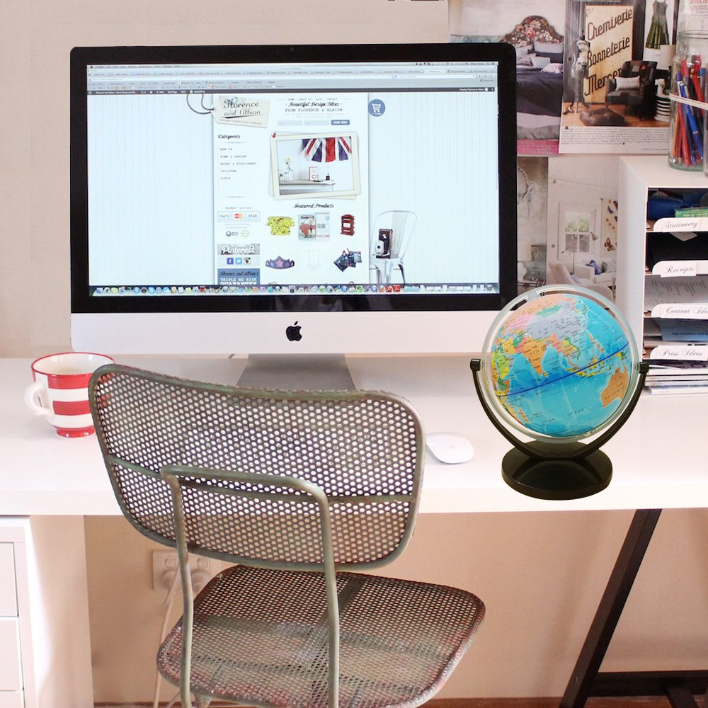 Political World Globe Desktop Stand, Office And School Swivel Rotating 7'' Tall Globe. By Mega Stationers