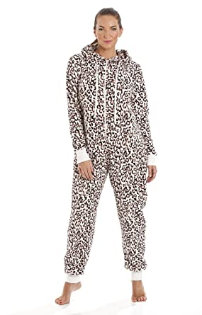 0420abb161b1a Ladies Hooded Fleece Onesie All In One Piece Pyjamas Jump Sleep Suit PJs  Nightwear New (M/L, Animal Print (9557)): Amazon.co.uk: Clothing