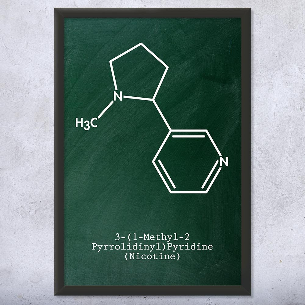 Patent Earth Framed Nicotine Molecule Print, Tobacco Control, Cigar Lounge, Cigarette Smoking, Vape Shop, Chew Dip Snuff Chalkboard (Green) (12'' x 16'') by Patent Earth