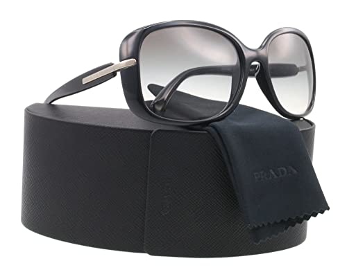 2cb9045a178 Prada Sunglasses PR 08OS - 1ABOA7 Black w. Silver (Grey Gradient Lens) -  57mm  Prada  Amazon.co.uk  Clothing