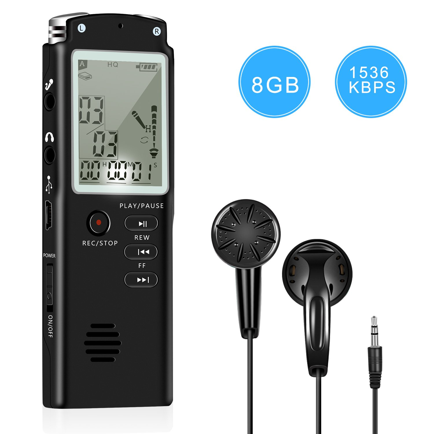 Voice Recorder - Dual Microphone 8gb Digital Voice Activated Recorder with MP3 Player, Rechargeable HD Audio Recorder, A-B Repeat and 1 Touch Recording Best for Lectures/Meeting / Interview (1536kbp