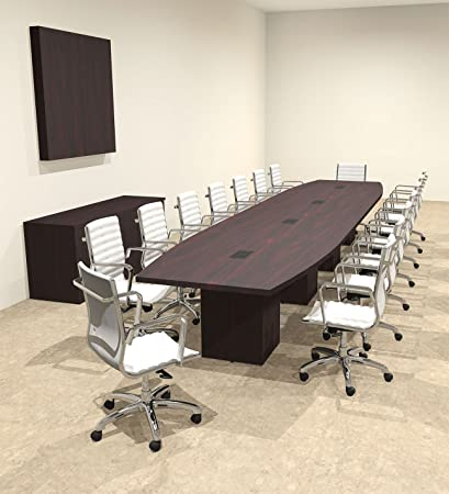 Amazoncom Modern Boat Shaped Cube Leg Feet Conference Table - 18 foot conference table