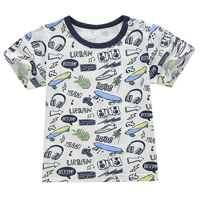 b62fcf9ded50 Amazon.com  ChicNChic Baby Boys Letter Print Short Sleeve T-Shirt and Plaid Shorts  Outfits Clothing Sets (4T