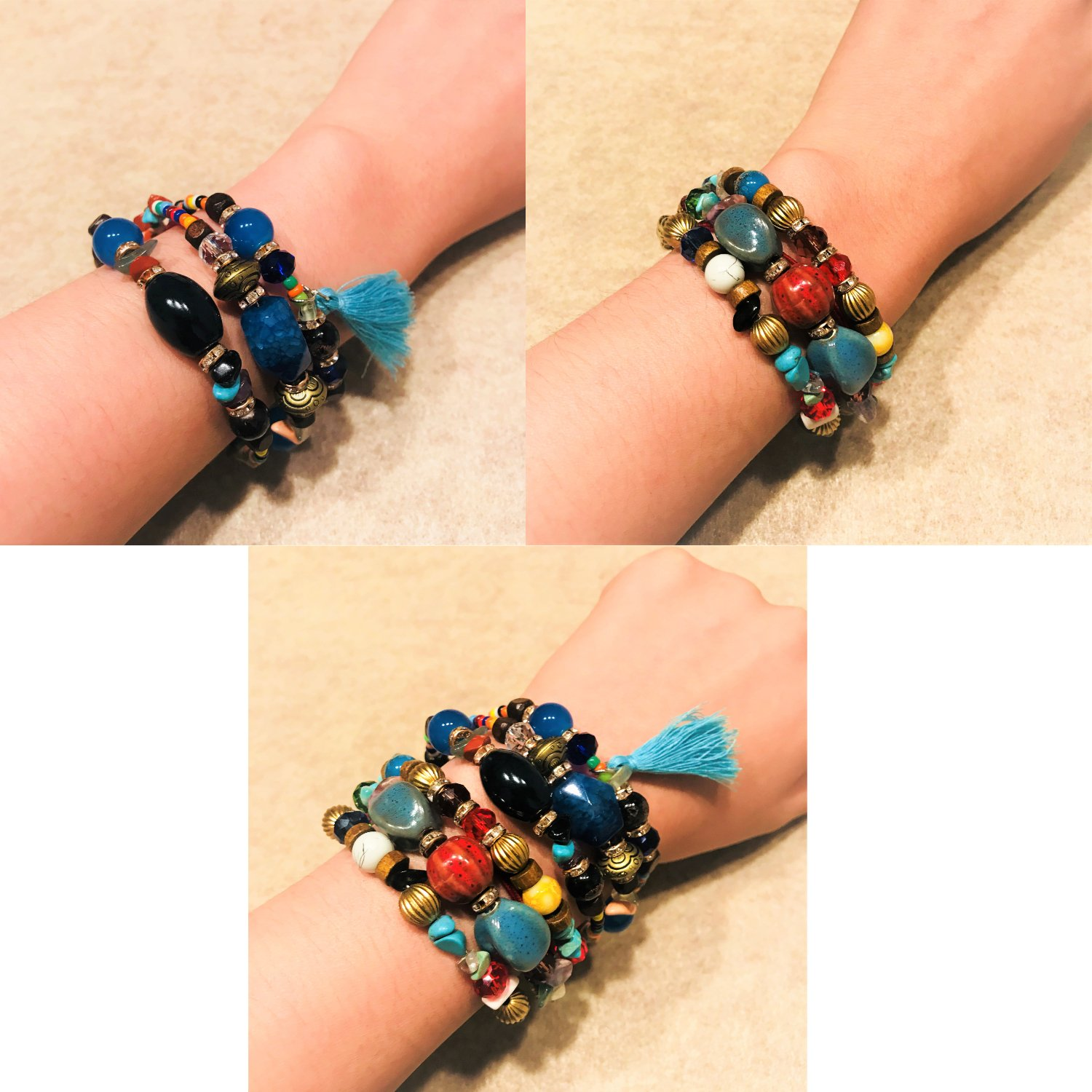 ISAACSONG.DESIGN Bohemian Multilayer Healing Stone Crystal Beads Charm Tribal Wrap Bangle Bracelet for Women (2 Pcs Colorful Beaded) by ISAACSONG.DESIGN (Image #6)