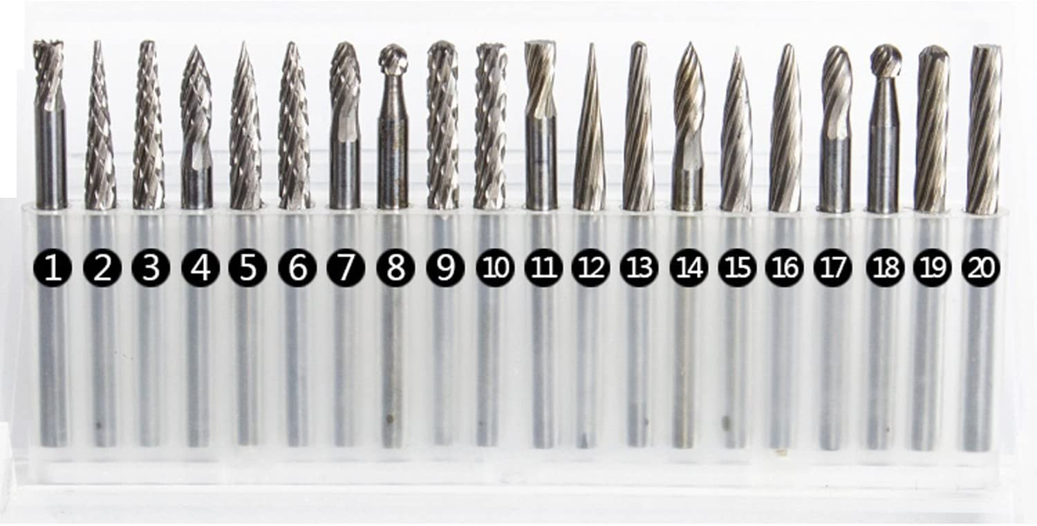 10pcs 1//8 Shank Tungsten Steel Solid Carbide Rotary Files Fits Rotary Tool Diamond Burrs Set for Woodworking Drilling Carving Engraving