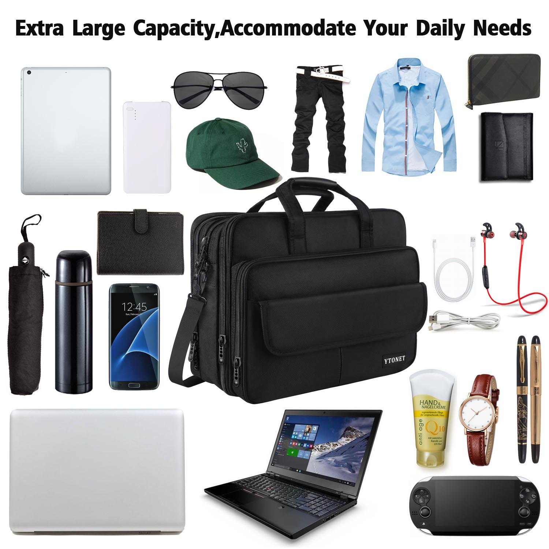 17 inch Laptop Bag,Expandable Briefcase Large Capacity Computer Bag for Women & Men,Oxford Nylon Fabric Shoulder Bag, Water Resistant Durable Messenger Bag Case for HP DELL 15 15.6 inch Laptop -Black by Ytonet (Image #6)