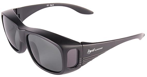 Rapid Eyewear uv400 Negro GAFAS DE SOL Polarizadas Para Colocar SOBRE LAS GAFAS Normales y de Lectura. Anti reflejante. Talla Adultos Mujeres y ...