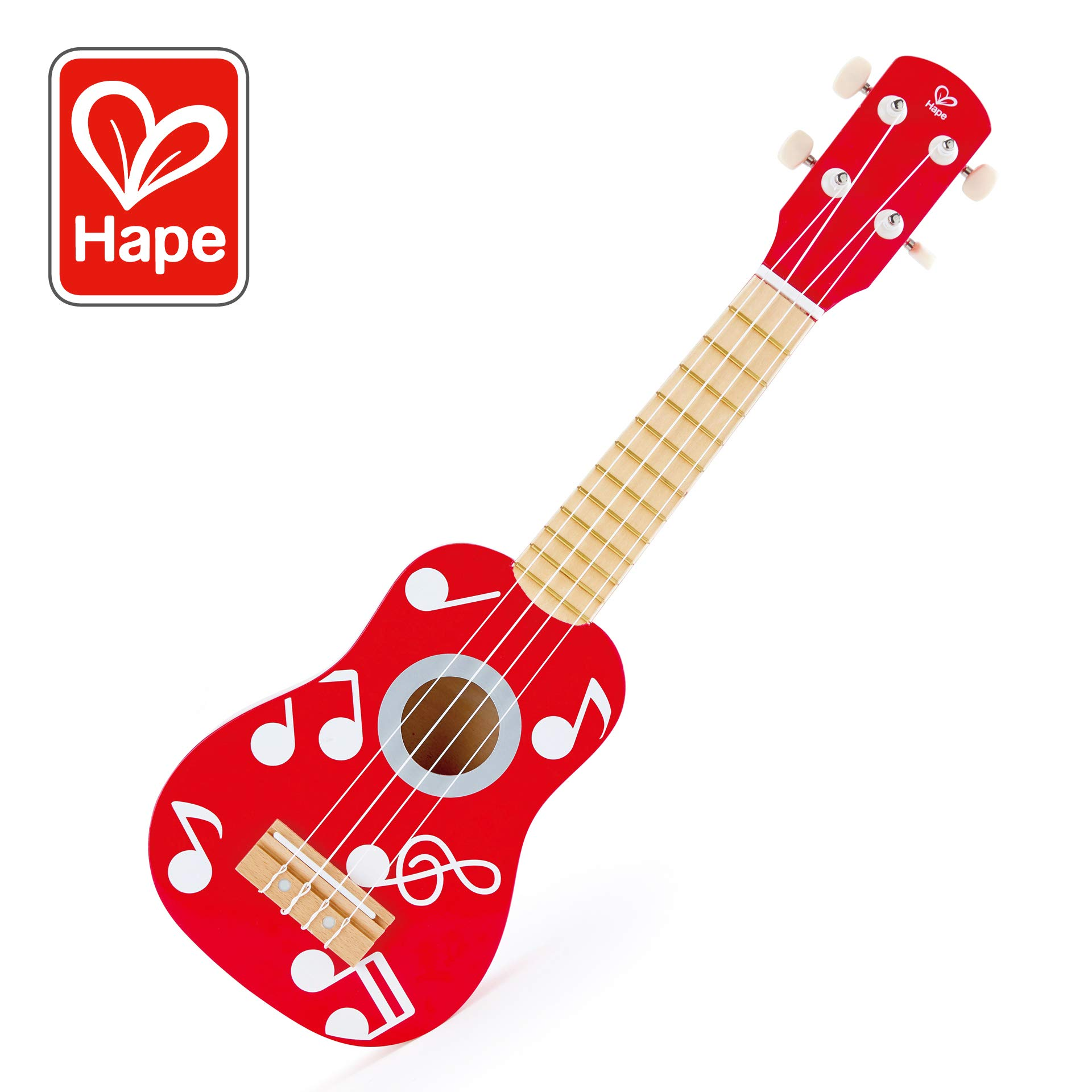 Hape Kid's Wooden Toy Ukulele | 21 Inch Musical Instrument with Vibrant Sound and Tunable Nylon Strings, Red by Hape