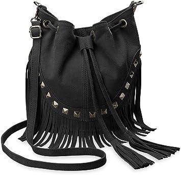 0e0caffdfb148 italienische Damentasche Beutel – Tasche Schultertasche Wildleder Nieten  Boho – Style schwarz