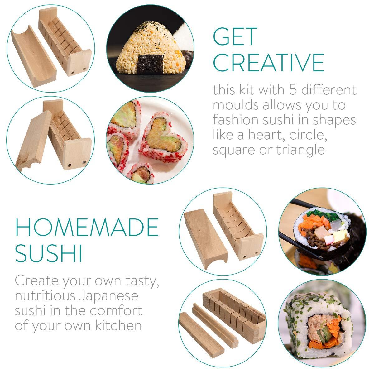 Set de 8 moldes y Utensilios de Madera para Preparar Sushi japon/és en tu Propia Cocina Navaris Kit para Hacer Sushi en casa para Principiantes