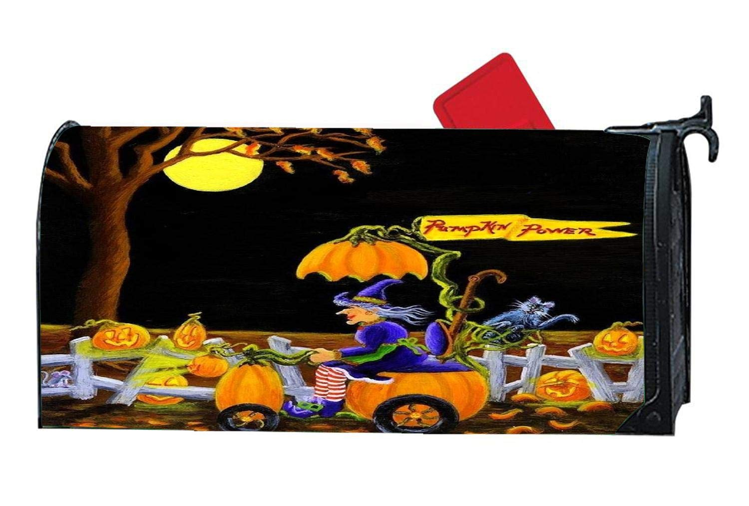 Custom Mailbox Cover Magnetic with Autumn Themed Design, Personalized MailWrap Mailbox Makeover Cover, Vinyl with Magnetic Strips on Backside - Power of Pumpkins Autumn Leaves