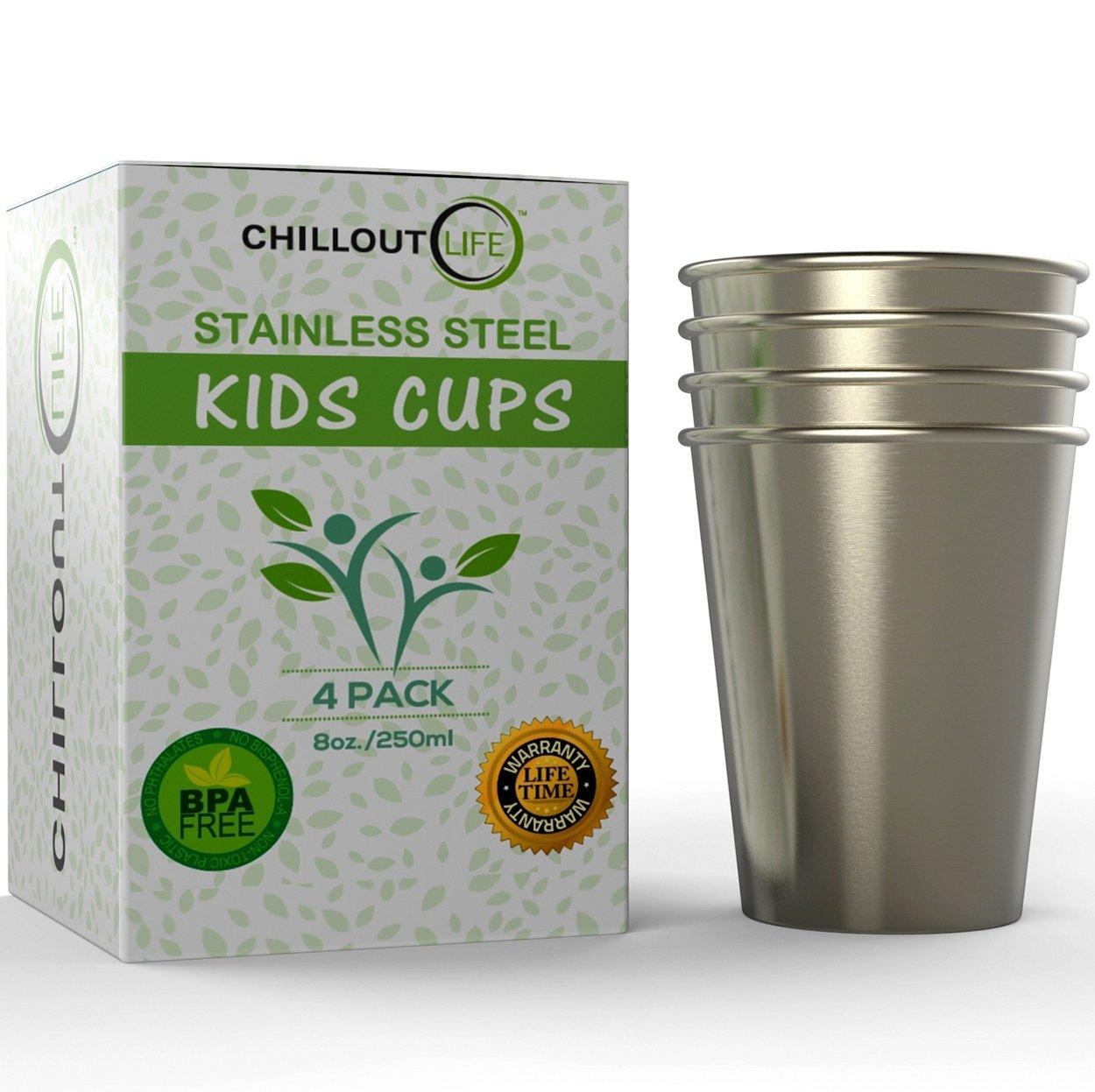 Stainless Steel Cups for Kids and Toddlers 8 oz - Stainless Steel Sippy Cups for Home & Outdoor Activities, BPA Free Healthy Unbreakable Premium Metal Drinking Glasses (4-Pack)