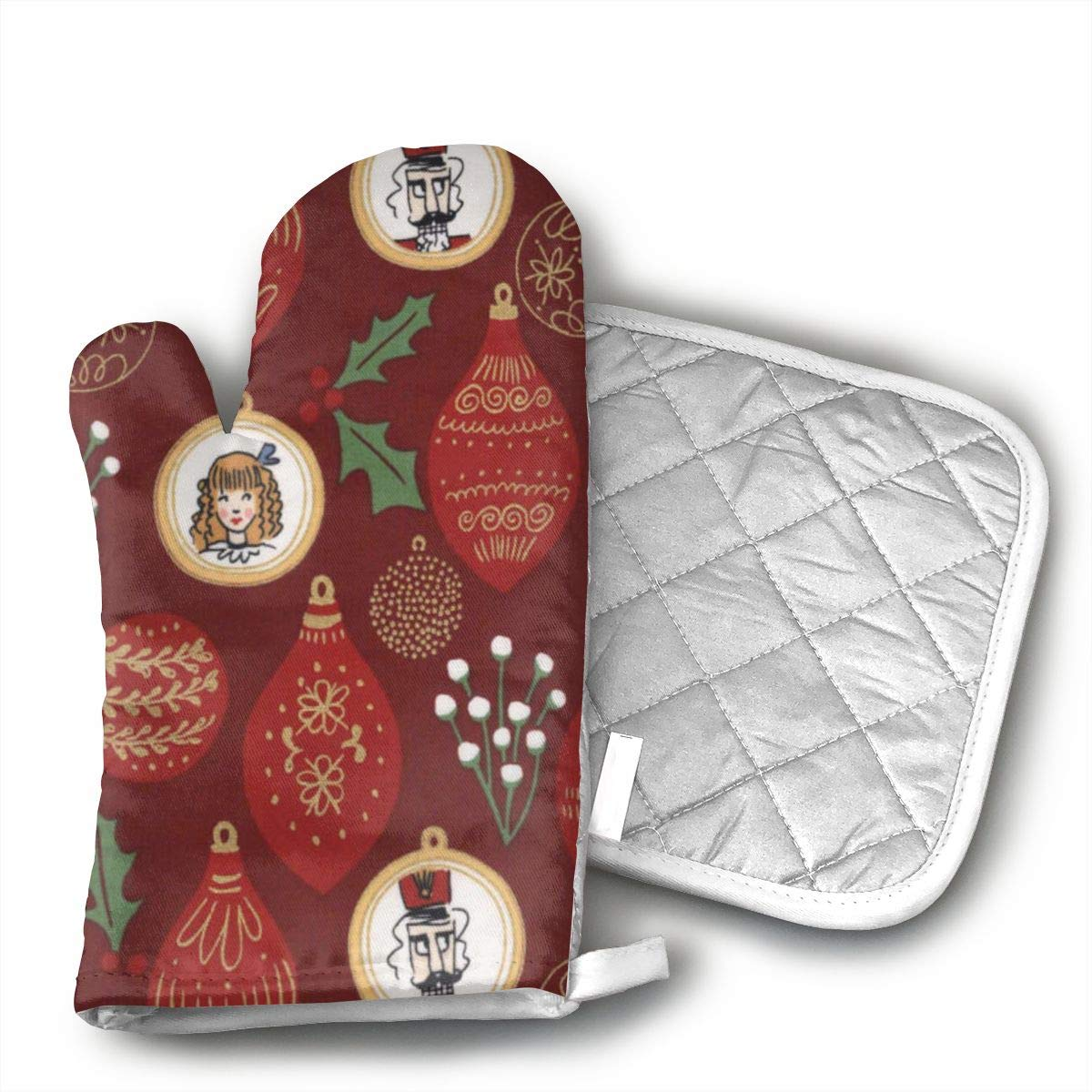 HGUIDHG Michael Miller Nutcracker Metallic Ornaments Burgundy Oven Mitts+Insulated Square Mat,Heat Resistant Kitchen Gloves Soft Insulated Deep Pockets, Non-Slip Handles