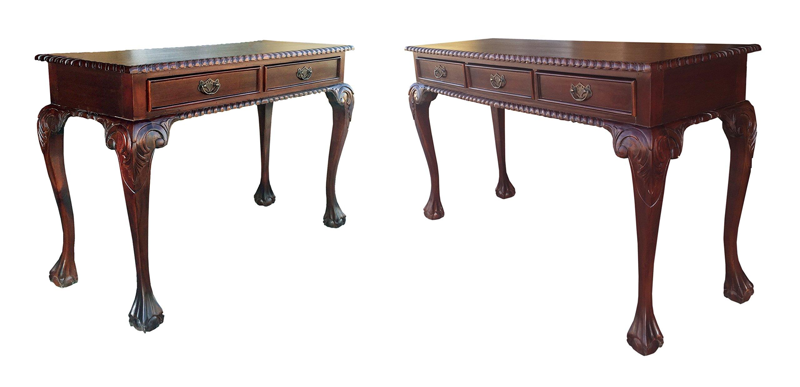 D-art England Writing Desk 2 drw and England Writing Desk 3 drw - In Mahogany Wood