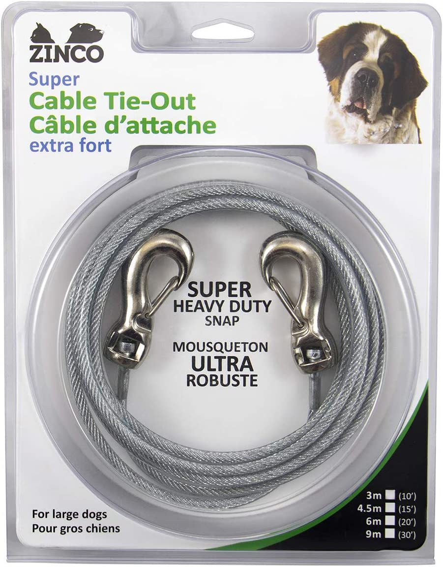 LARGE Dog Chain 30FT Tie Out Cable Heavy Duty Extra Long Leash Beast W// Spring