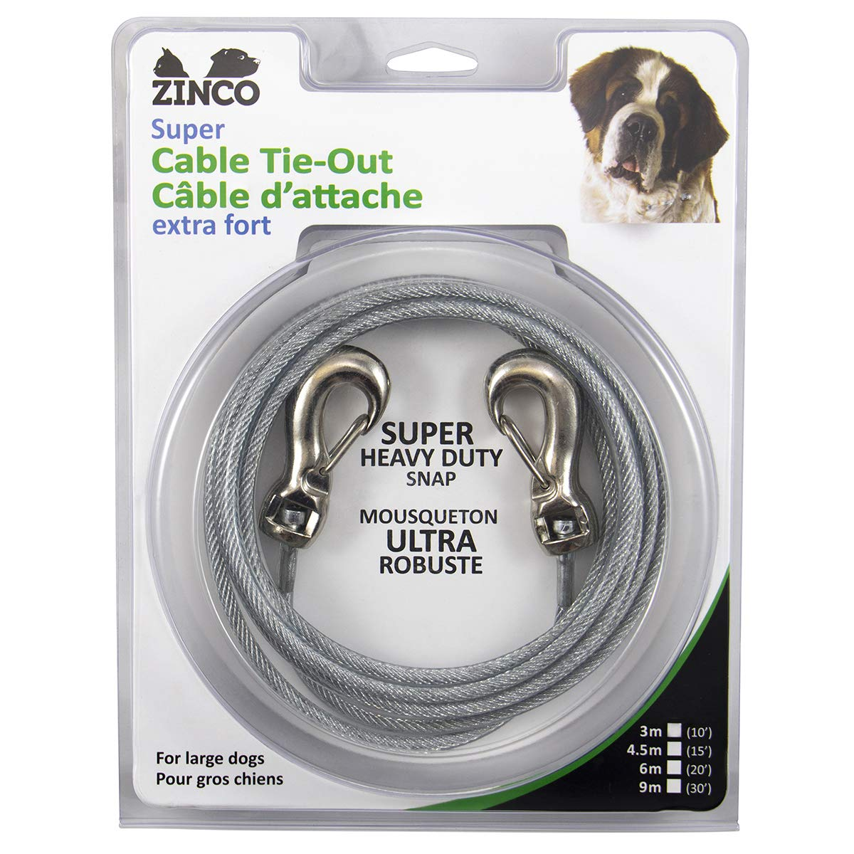 Ben-Mor  Strong Tie-Out Cable 360 Degree Rotating Double Swivel Connector for Large Dogs, Silver by Ben-Mor
