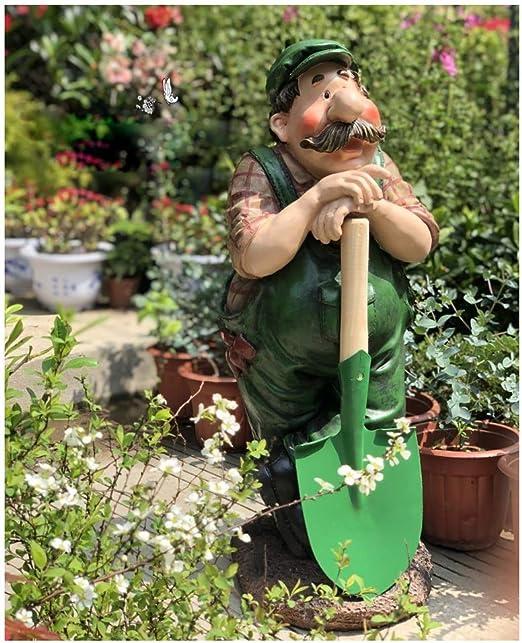 Mingteng Gardener - Estatua de jardín para Hombre y Jardinero, decoración de jardín, Estatua de Resina, decoración para Interiores y Exteriores, Adorno de jardín y Patio: Amazon.es: Jardín