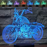 3D Illusion Night Light Motorcycle 7 Color Change Touch Switch USB Powered LED Decoration Table Lamp for Holiday Birthday