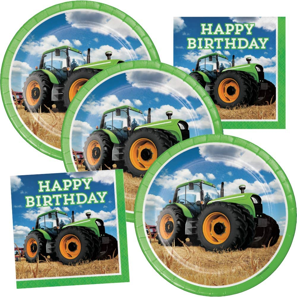 Farmed Themed Birthday Party Supplies Green Tractor Plates and Napkins Set