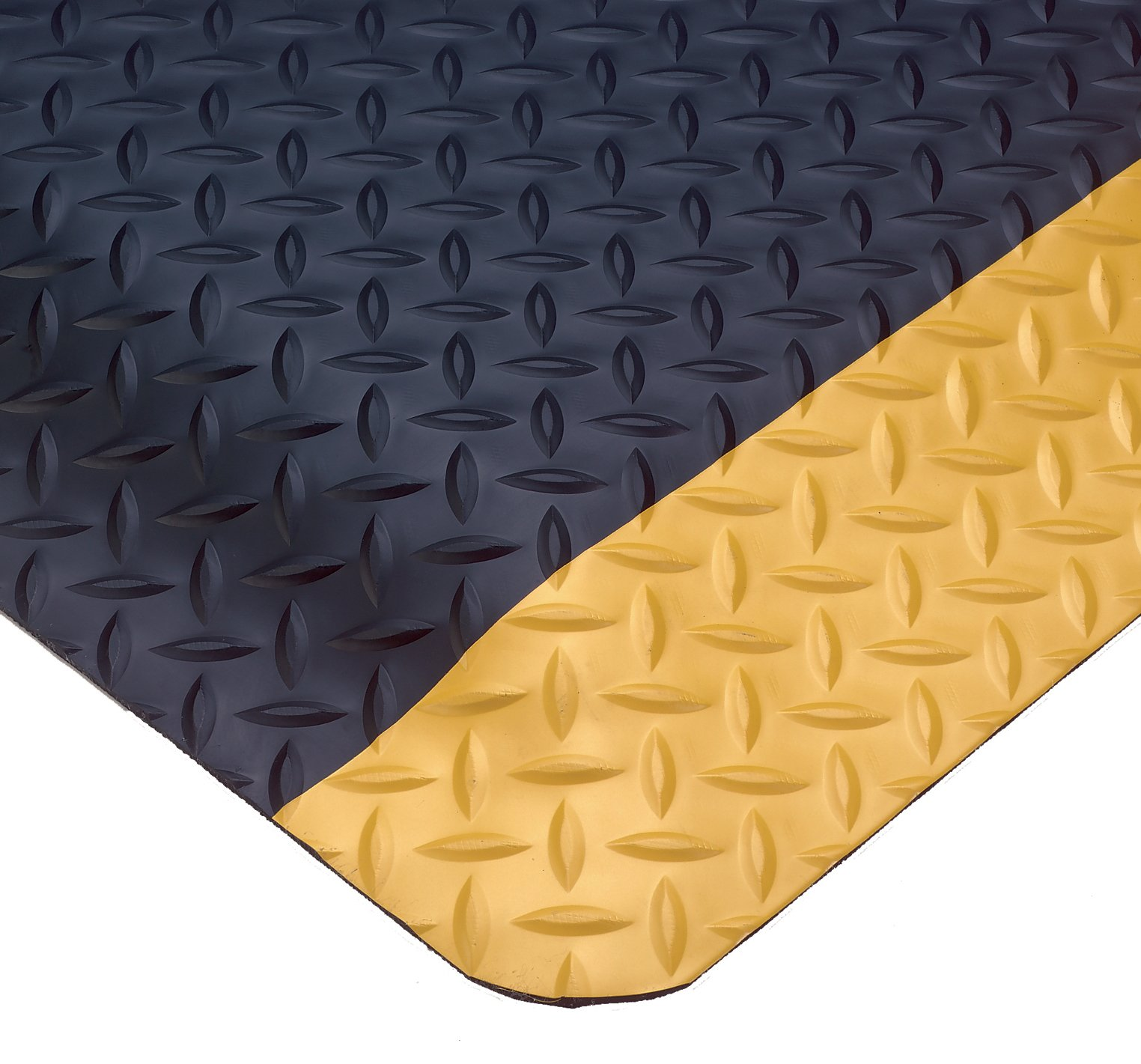 Wearwell PVC 414 UltraSoft Diamond-Plate Heavy Duty Anti-Fatigue Mat, Safety Beveled Edges, for Dry Areas, 3' Width x 5' Length x 15/16'' Thickness, Black / Yellow