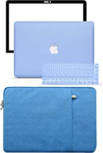 """LuvCase 4 in 1 LaptopCase forMacBookPro 15"""" Retina Display (2015/2014/2013/2012) A1398 (NO CD Drive)HardShellCover, Sleeve, Keyboard Cover & Screen Protector (Serenity Blue)"""