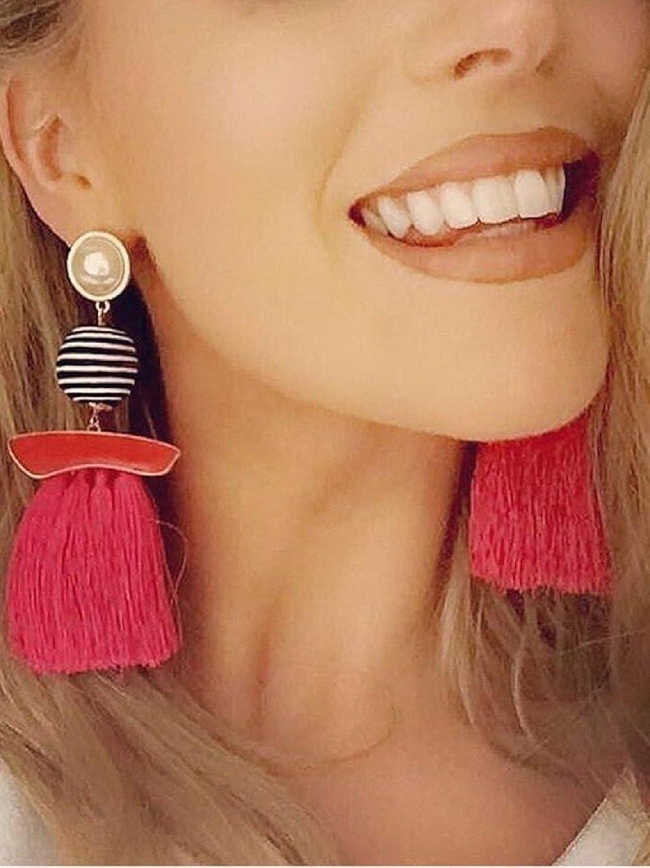 DEFUMU Womens Girls Elegant Long Tassels Dangle Drop Earrings for Parties Assorted Colors