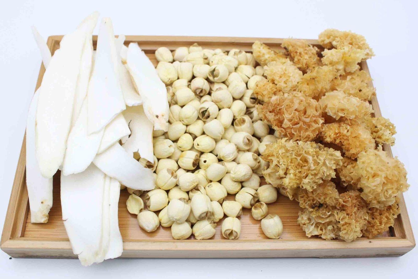 China Good Food Set-39 Dried Chinese Yam 生晒淮山 x Bailian 白蓮 x Zhang Zhou Snow Fungus 漳洲丙耳