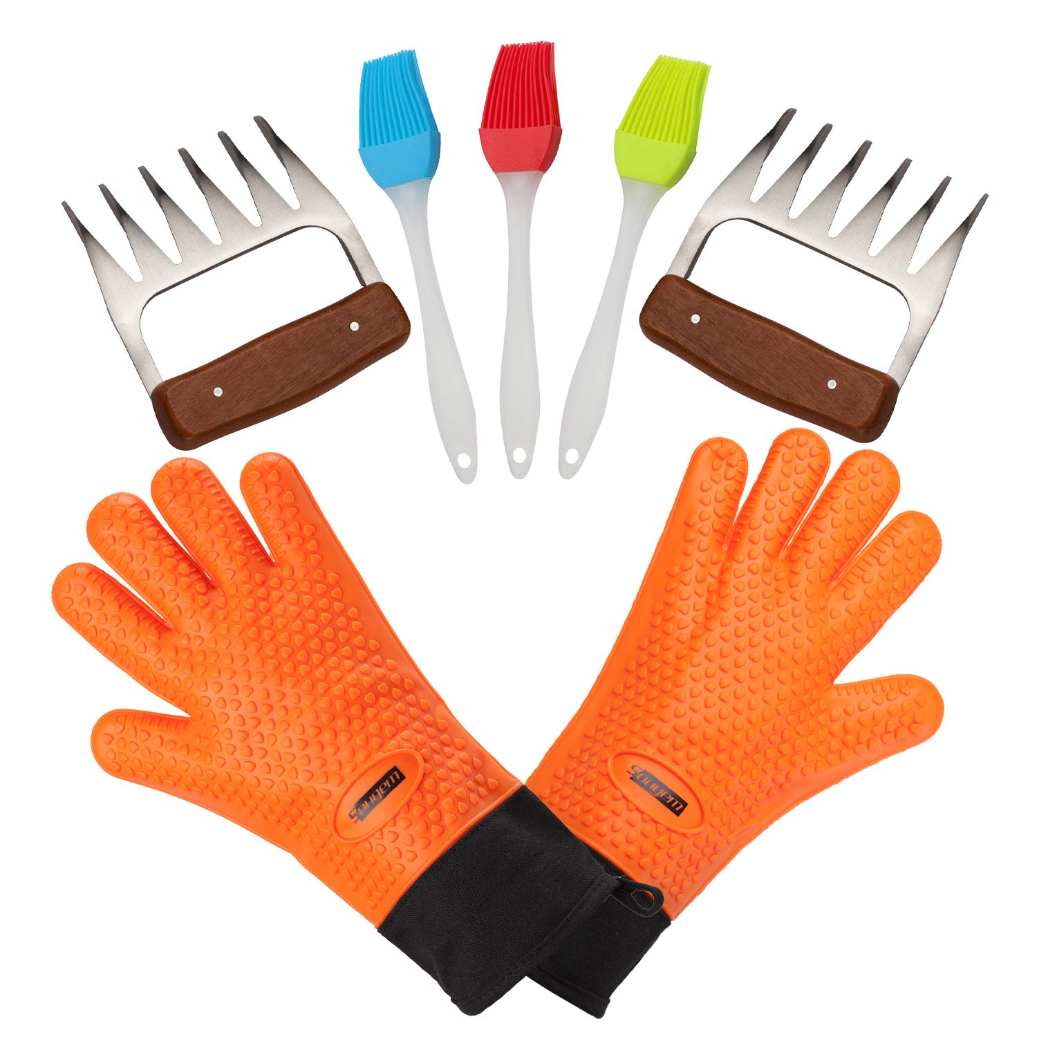 Sougem Meat Claws Heat-Resistant Silicone Cooking Gloves and 3 Silicone Grill Brushes, Barbecue Tool Sets for Outdoor Cooking, Oven, Grilling, Smoking by Sougem