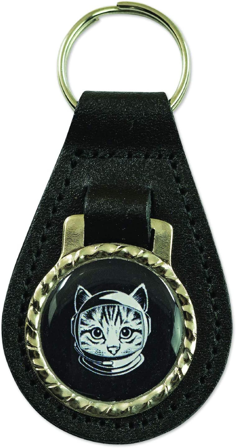 EvolveFISH Space Cat Black Leather Key Chain Fob 3 Tall