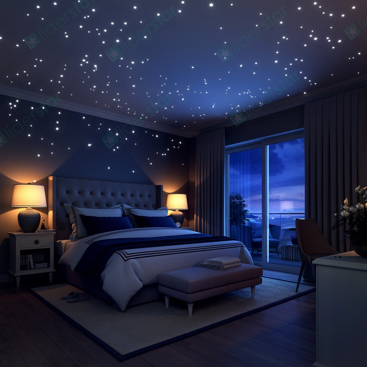 Bedroom ceiling lights stars - Amazon Com Glow In The Dark Stars Wall Stickers 252 Dots And Moon For Starry Sky Perfect For Kids Bedding Room Gift Beautiful Wall Decals By Liderstar