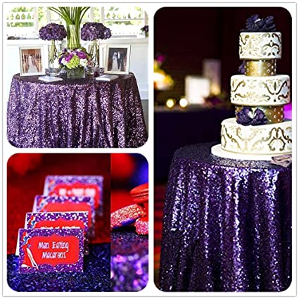 Beau B COOL High Density 50u0026quot; Round Dark Purple Sequin Tablecloth, Wedding  Table