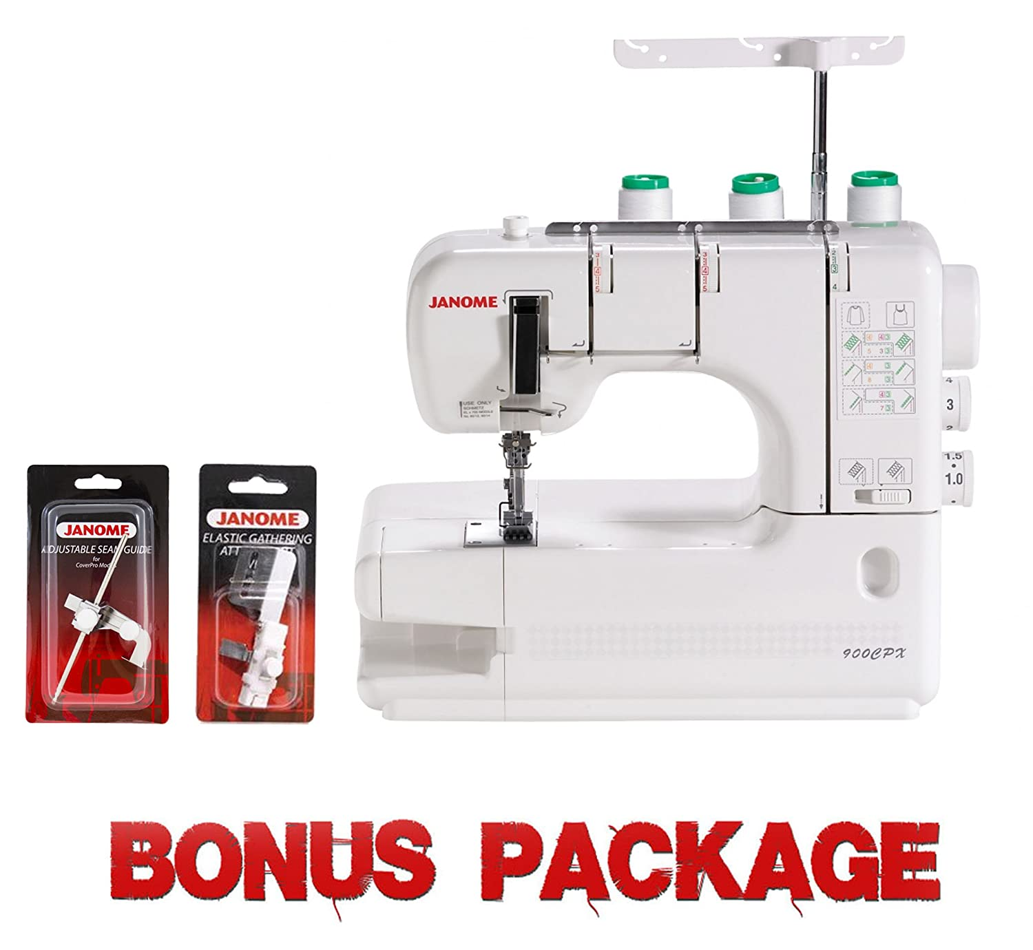 Janome CoverPro 900CPX Portable CoverHem Serger Machine With Bonus Cutex Sewing Supplies