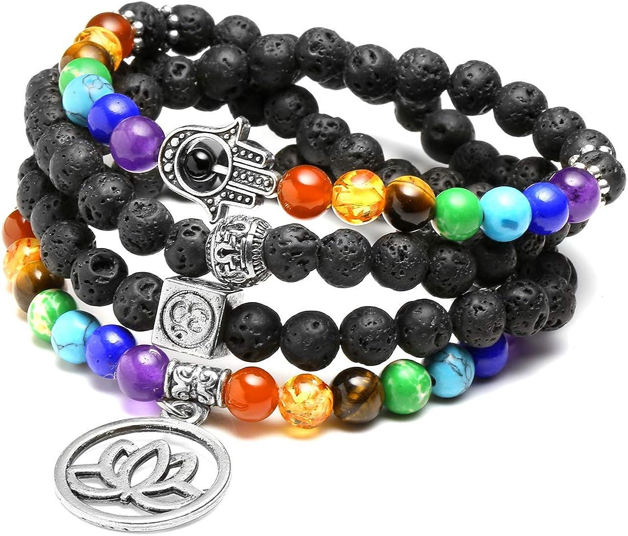 JSDDE 108 perlas piedras preciosas Yoga pulsera Wickelarmabnd 7 Chakra Lotus seguidores Perlenarmband Healing Reiki Mala cadena Tibetische Halskette Gebetskette