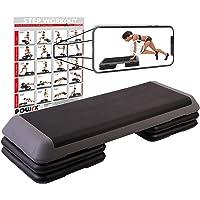POWRX Stepboard Profi XXL incl. Workout I Step board in hoogte verstelbaar 110 x 42 cm I Fitness Set verstelbaar Aerobic…