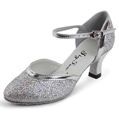 Jig Foo Women's Pumps Dance Shoes, Silver Sparkle with Patent, 9.5 B(M) US | Ballet & Dance