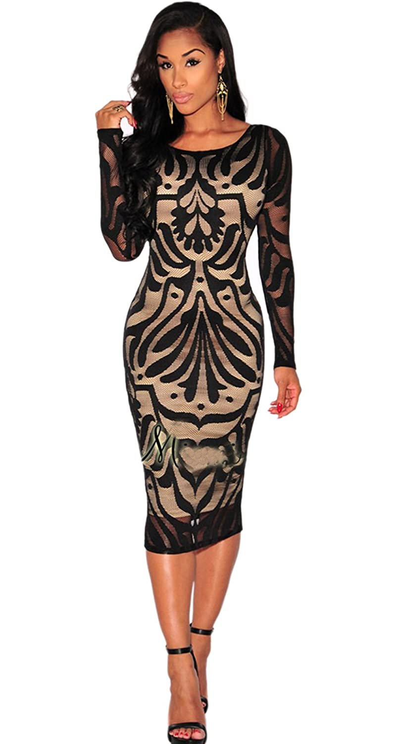 Womens Sexy Backless Long Sleeve Lace Floral Print Clubwear Cocktail Midi Dress