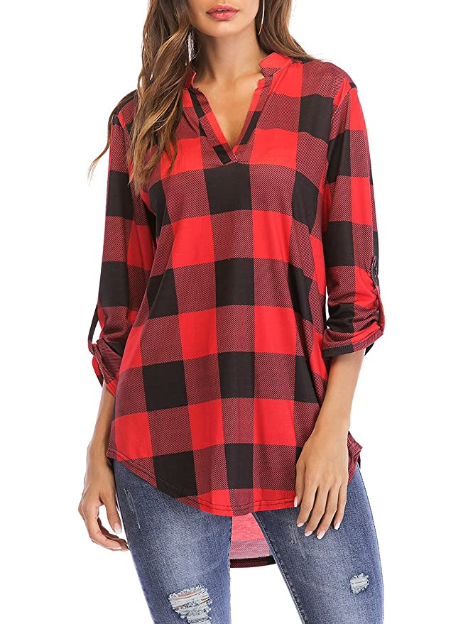 St. Jubileens Women 3/4 Sleeve Plaid Shirt Tunic V Neck Casual Pullover Blouses Tops Red M