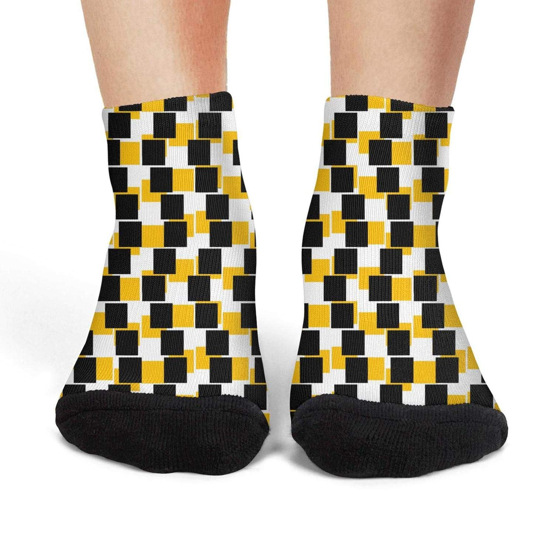 Mens low cut athletic Ankle sock Patterned matrix of squares frame Breathable Short Sock