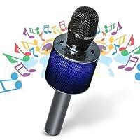 Hizek Microphone sans Fil, Microphone Bluetooth LED avec Haut-Parleur, Karaoké Portable pour Party, Home, KTV Compatible avec Android/iOS / PC/Smartphone Cadeau pour Adult et Enfant