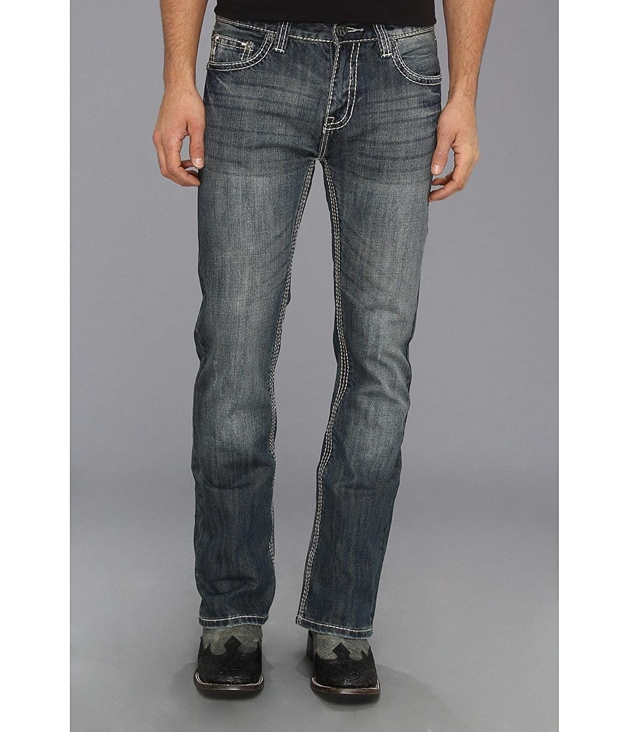 Rock & Roll Cowboy Men's And Pistol Heavy Stitched Bootcut Jeans ...