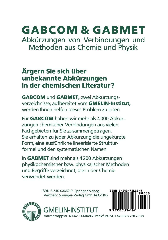 Gabcom Gabmet Abkürrzungen Von Verbindungen Und Methoden