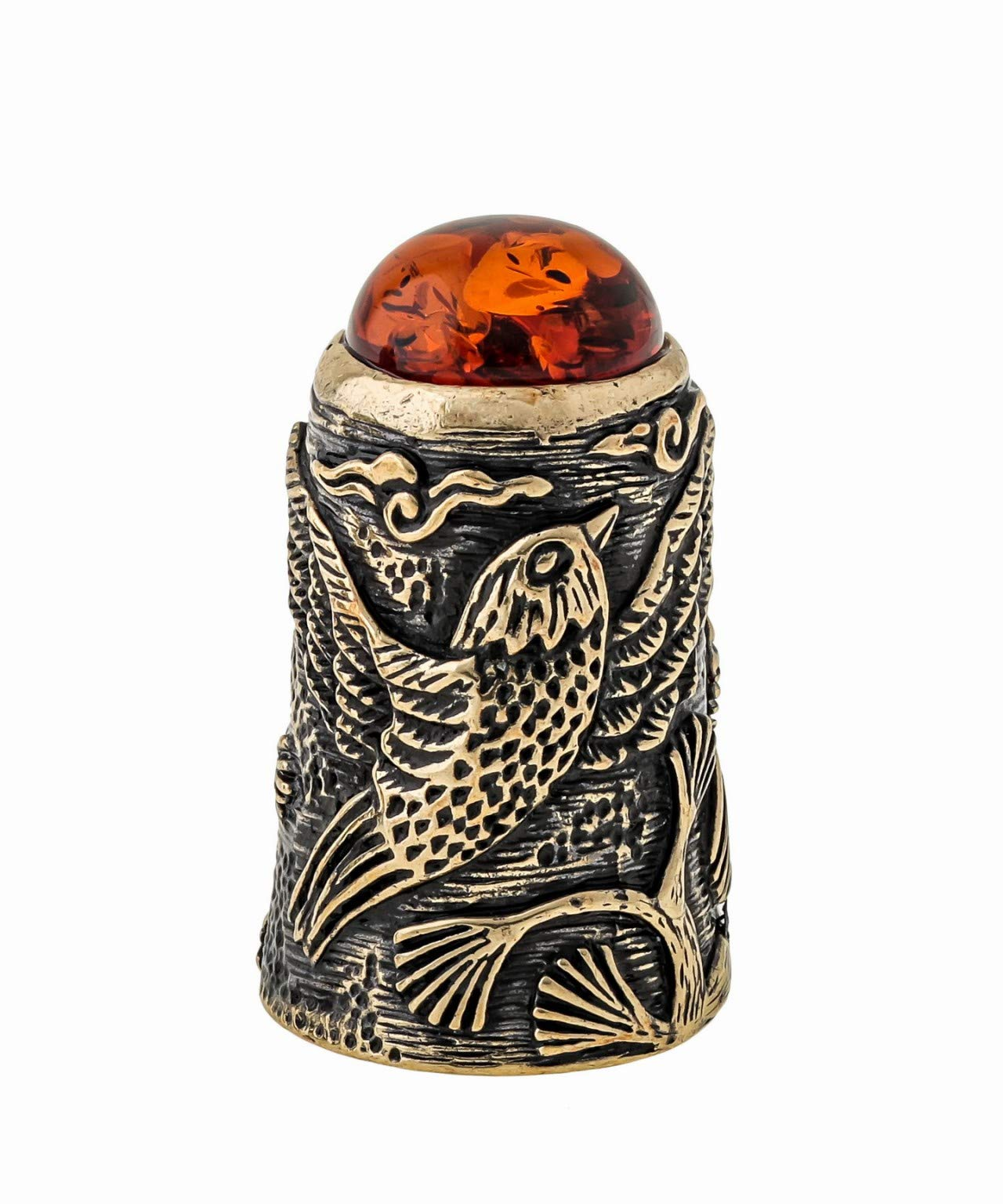 Collectible Thimble (Bird Waxwings) Decorative Amber and Brass Souvenir Thimbles. Vintage Designs from Kaliningrad, Russia. Packed in a Beautiful Siberian Birch Bark Gift Box (Random Selection) by Brass and Amber Art