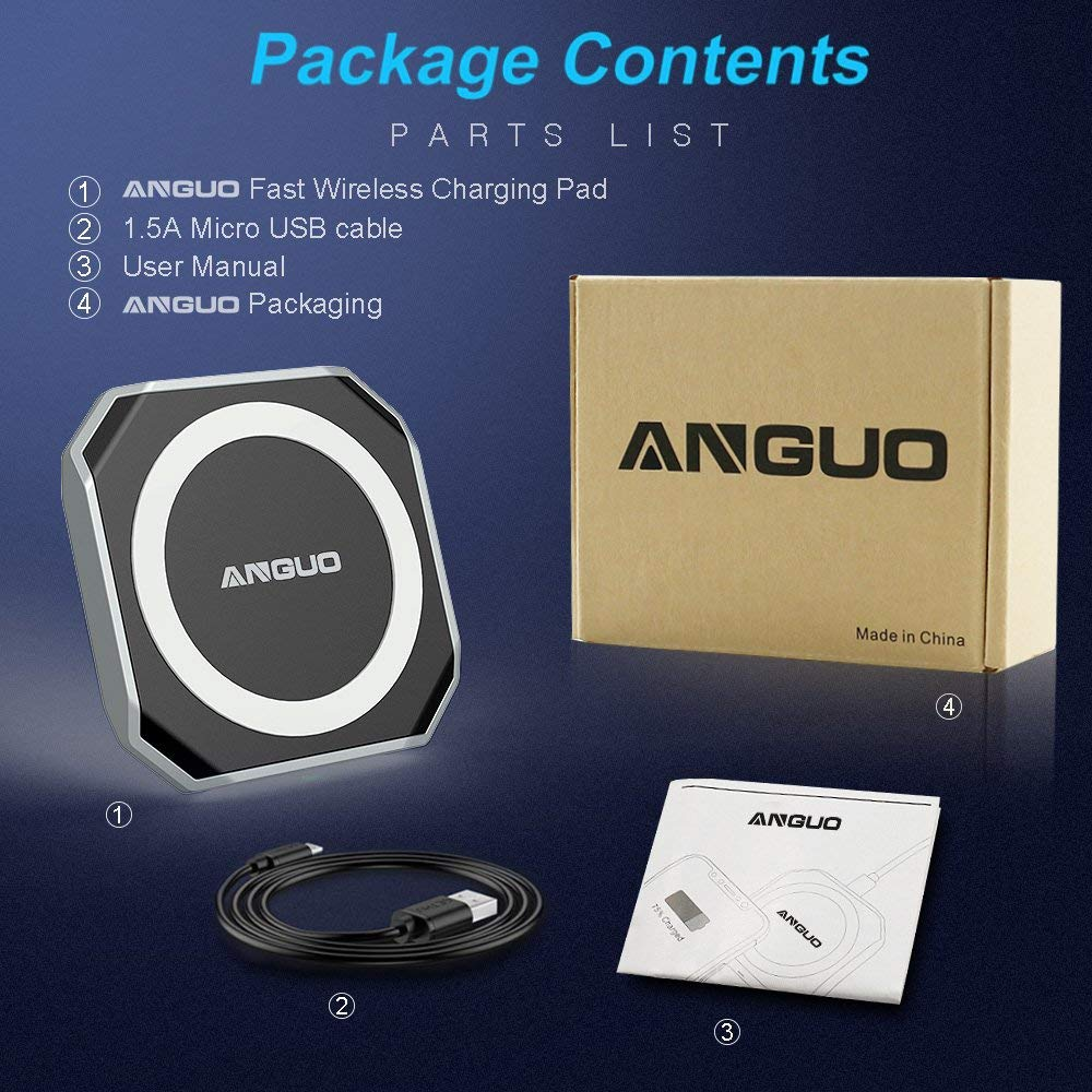Anguo Wireless Charger, Qi Certified Fast Wireless Charger Charging Pad for iPhone X / 8/8 Plus, Samsung Galaxy S9, S9 Plus and All Qi-Enabled Device(NO AC Adapter)
